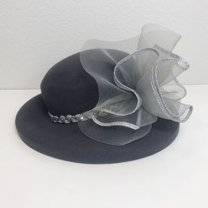 KaKyCo Gray Wool Tulle Braided Sequin Derby Hat